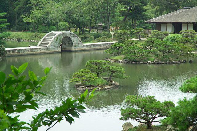 Naka-ku, Hiroshima Japanese Garden Moon Bridge Shukkeien